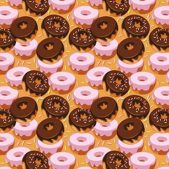 Süßer donut-nahtloses muster-design
