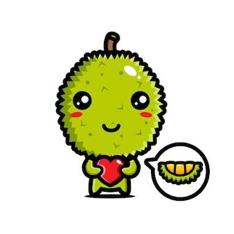 Süßer durian, der das herz umarmt
