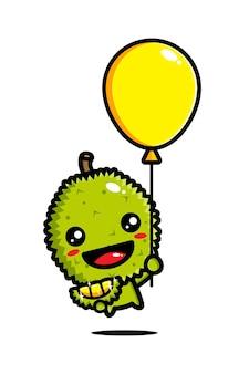 Süßer durian, der mit einem ballon fliegt