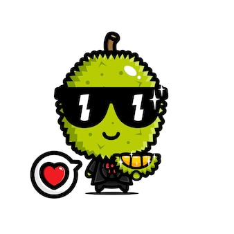 Süßer durian mit coolem kostüm