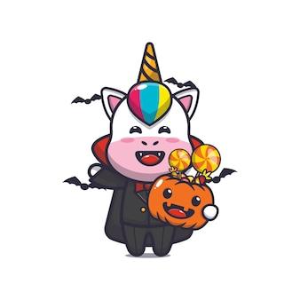 Süßer einhorn-vampir, der halloween-kürbis hält süße halloween-cartoon-illustration