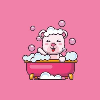 Süßer eisbär, der schaumbad in der badewannenkarikaturvektorillustration nimmt