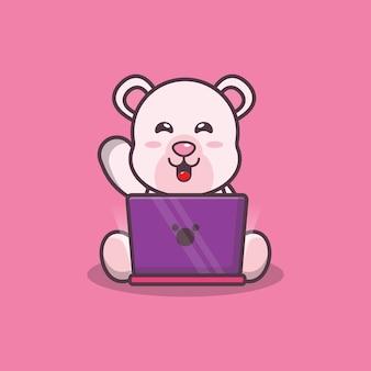 Süßer eisbär mit laptop-cartoon-vektor-illustration