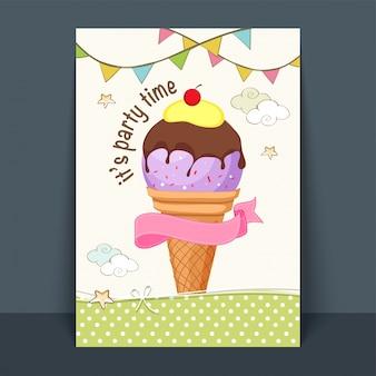 Süßer eiscreme-flyer, schablone oder plakatentwurf mit rosa band und bunten buntings.