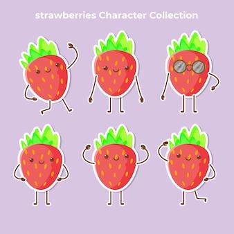 Süßer erdbeercharakter-sammlungsvektor