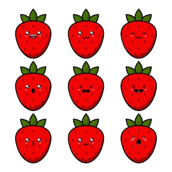 Süßer erdbeerfruchtcharakter der karikatur