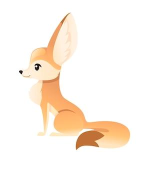 Süßer fennek-fuchs sitzt auf dem boden illustration cartoon tier design weißer hintergrund seitenansicht