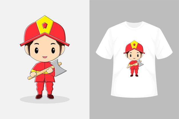 Süßer feuerwehrmann mit t-shirt-design