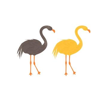 Süßer flamingo im skandinavischen stil. handzeichnungsvektorillustration.