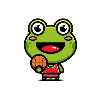 Süßer frosch, der basketball spielt
