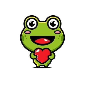 Süßer frosch, der ein liebesherz umarmt