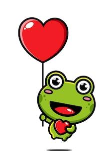 Süßer frosch fliegt mit einem liebesballon