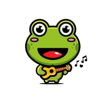 Süßer frosch spielt die ukulele