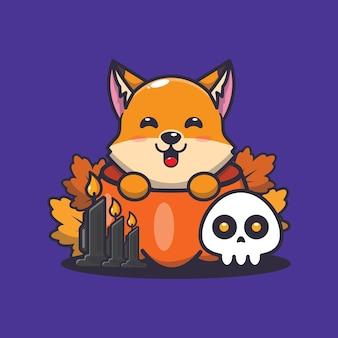 Süßer fuchs in halloween-kürbis süße halloween-cartoon-illustration