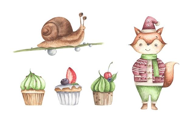 Süßer fuchs mit cupcakes und schnecke süßer charakter aquarell für kinderpartydekoration