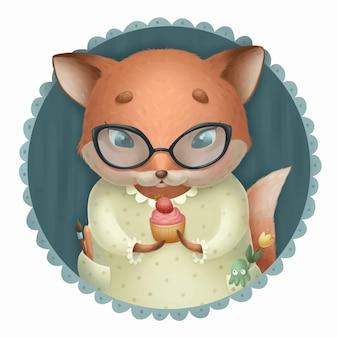 Süßer fuchs mit einem kuchen in den händen entzückender tiercharakter mit brille