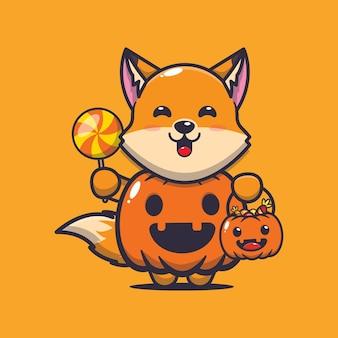 Süßer fuchs mit halloween-kürbis-kostüm süße halloween-cartoon-illustration