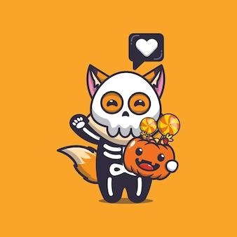Süßer fuchs mit skelettkostüm, das halloween-kürbis hält süße halloween-karikaturillustration