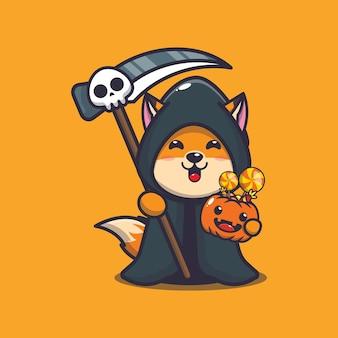 Süßer fuchs sensenmann mit halloween-kürbis süße halloween-cartoon-illustration