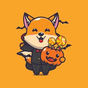 Süßer fuchs-vampir, der halloween-kürbis hält süße halloween-cartoon-illustration