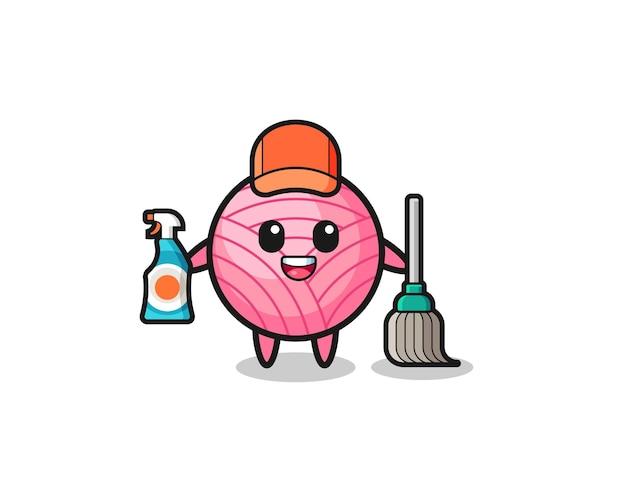 Süßer garnball-charakter als reinigungsservice-maskottchen, süßes design
