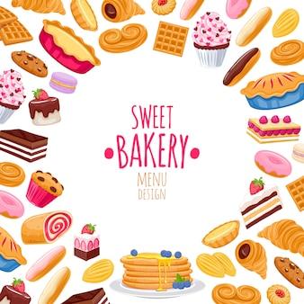 Süßer gebäckhintergrund. bäckereiprodukte.