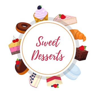 Süßer gebäckhintergrund mit desserts