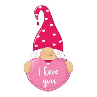 Süßer gnom. alles gute zum valentinstag clipart.