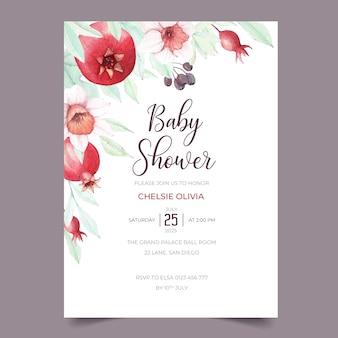 Süßer granatapfel-babyparty-einladungsthema