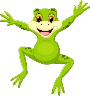 Süßer grüner frosch springender cartoon