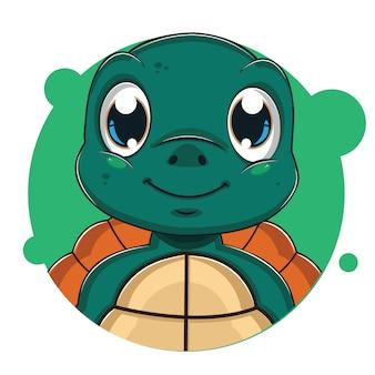 Süßer grüner schildkröten-avatar