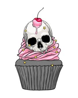 Süßer gruseliger totenkopf-cupcake mit rosa creme- und kirschillustration