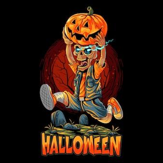 Süßer halloween-zombie, der mit einem kürbis läuft
