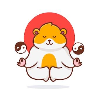 Süßer hamster, der mit ying-yang-illustration fliegt