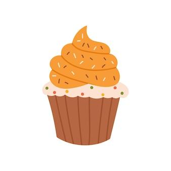 Süßer handgezeichneter kürbis-cupcake