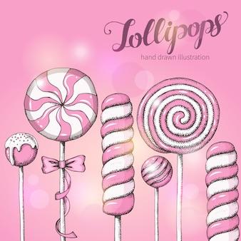 Süßer hintergrund mit lutschern auf rosa. süßigkeitenladen. handschriftliche beschriftung.