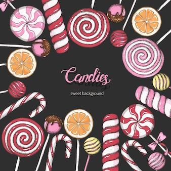Süßer hintergrund mit lutschern auf schwarzem. süßigkeitenladen. handschriftliche beschriftung.