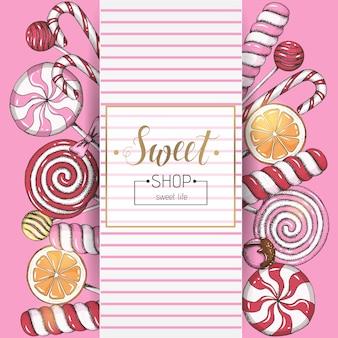 Süßer hintergrund mit lutschern und rahmen mit text auf rosa. süßigkeitenladen. handschriftliche beschriftung.