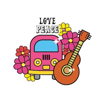 Süßer hippie minibus mit blumen und gitarre