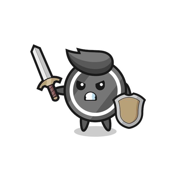 Süßer hockey-puck-soldat, der mit schwert und schild kämpft, süßes stildesign für t-shirt, aufkleber, logo-element