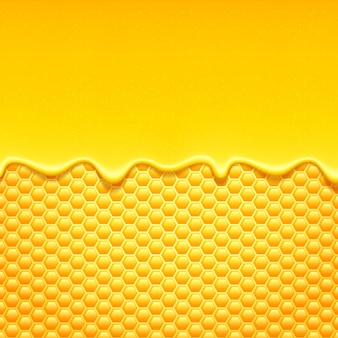 Süßer honig tropft mit bienenwabe.