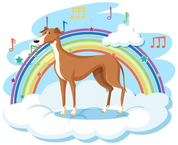 Süßer hund auf der wolke mit regenbogen