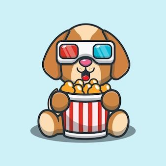 Süßer hund, der popcorn isst und einen 3d-film ansieht