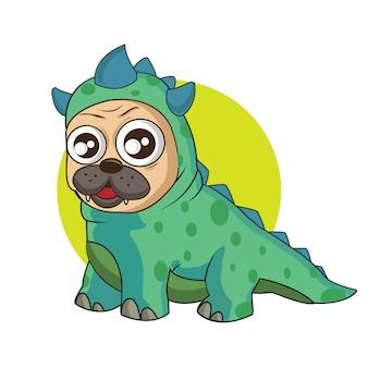 Süßer hund mit einem godzilla-kostüm