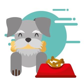 Süßer hund mit knochen im mund schüssel essen