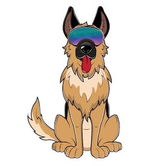 Süßer hund mit visierbrille