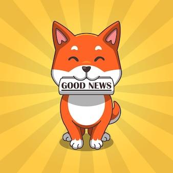 Süßer hund shiba inu bringt eine zeitung gute nachrichten