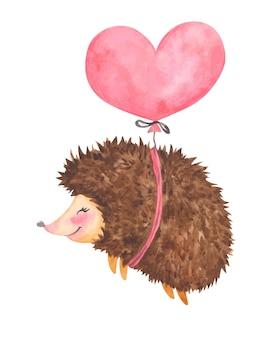 Süßer igel des aquarell-valentinstags