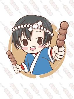 Süßer japanischer koch, der mitarashi dango essen - zeichentrickfigur präsentiert.
