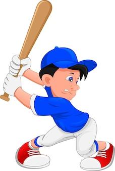 Süßer junge baseballspieler